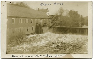 Back of grist mill and saw mill, school house