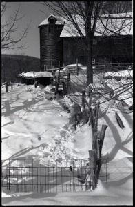 The barn and pig pen under heavy snow, Montague Farm commune