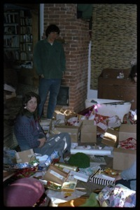 Anna and Harvey Wasserman in the living at Christmas, Montague Farm commune