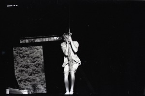 James 'Lazarus' Tapley swinging from a rope in the barn, Montague Farm commune