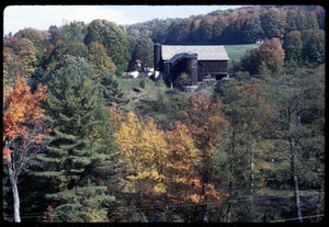 View of Montague Farm barn and house during the fall, Montague Farm Commune