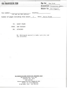 Fax from Ann Taggart to Barry Frank