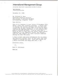 Letter from Mark H. McCormack to Mildred B. West