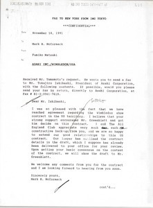 Fax from Fumiko Matsuki to Mark H. McCormack