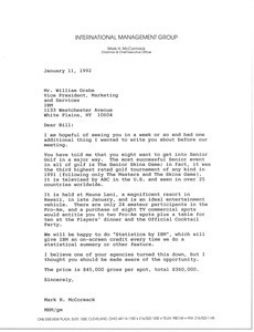 Letter from Mark H. McCormack to William Grabe