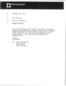Memorandum from Mark H. McCormack to Bill Sinrich