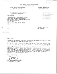 Fax from Axel Meyer-Wolden to Mark H. McCormack