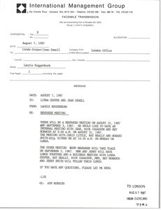 Fax from Laurie Roggenburk to Linda Cooper and Jean Sewell