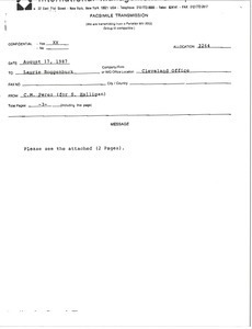 Fax from C. M. Perez to Laurie Roggenburk