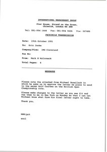 Fax from Mark H. McCormack to Eric Jonke