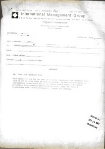 Fax from Edna Landau to Laurie Roggenburk
