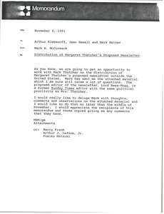 Memorandum from Mark H. McCormack to Arthur Klebanoff, Jean Sewell and Mark Reiter