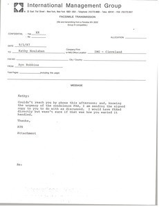 Fax from Ayn Robbins to Kathy Houlahan