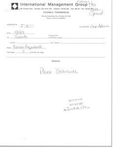 Fax from Laurie Roggenburk to North American offices