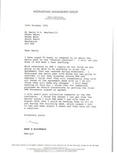 Letter from Mark H. McCormack to Barry N. A. Weatherill