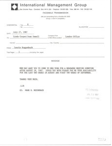 Fax from Laurie Roggenburk to Linda Cooper