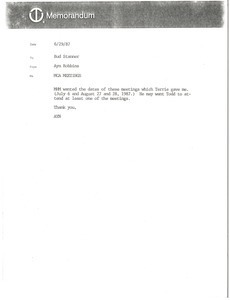 Fax from Ayn Robbins to Bud Stanner