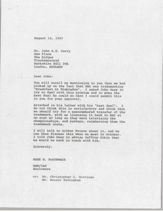 Letter from Mark H  McCormack to John A  H  Curry - Digital