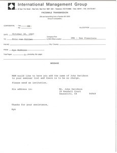 Fax from Ayn Robbins to Eric van Dillen