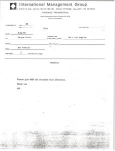 Fax from Ayn Robbins to Jacque Orsie