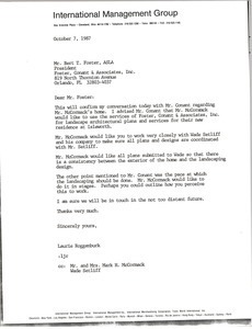 Letter from Laurie Roggenburk to Bert T. Foster