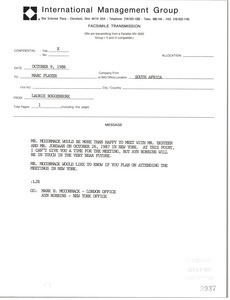 Fax from Laurie Roggenburk to Marc Player