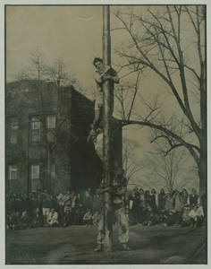 Greased pole climb at Sti-Yu-Ka, ca. 1971