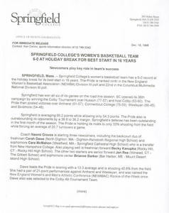 Women's Basketball Release (December 18, 1998)