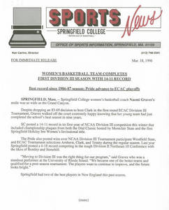 Women's Basketball Release (March 18, 1996)