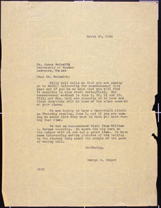 Letter to Naismith from Draper (March 30, 1938)