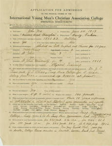 John Ma's SC Application (June 3, 1919)