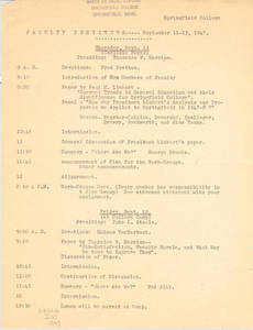 Faculty Institute Program (September 1947)