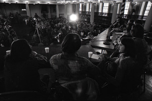 Vietnam Veterans Against the War Winter Soldier Investigation: Faneuil Hall audience from behind panel