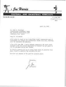 Letter from Joe Harris to Mark H. McCormack