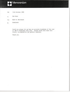 Memorandum from Mark H. McCormack to Bob Kain