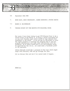 Memorandum from Mark H. McCormack to Bob Kain, Eric Drossart, James Erskine, and Peter Smith