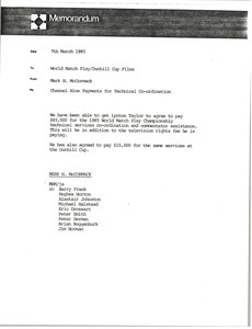 Memorandum from Mark H. McCormack to World Match Play Dunhill Cup files