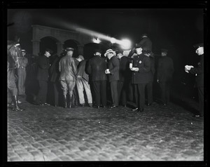 In front of the prison on the night of the execution of Sacco and Vanzetti