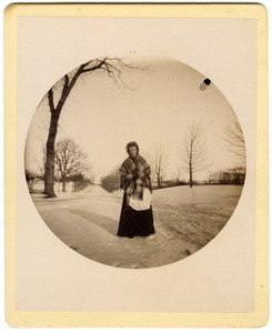 Annie Blanchard on Boston Post Road (East Main St.), Brookfield, in front of Elm Hill Farm