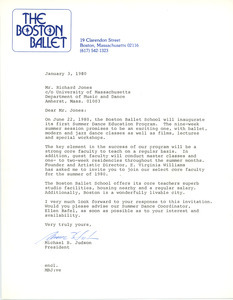 Letter from the Boston Ballet to Richard Jones