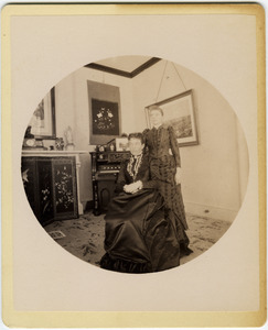 Annie Blanchard (seated) and Abby F. Blanchard in their parlor