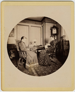 Abby F. Blanchard and Annie Blanchard (l. to r.) seated in the parlor