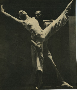Clipping of Richard Jones with a dancer from a performance of Salute to Duke