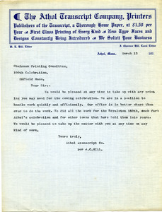 Letter from Athol Transcript Co. to Donald W. Howe