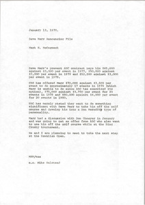 Memorandum from Mark H. McCormack to David Marr announcing file