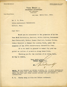 Letter from Thomas Brady to Donald W. Howe
