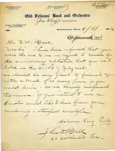 Letter from Odd Fellows' Band and Orchestra to Donald W. Howe