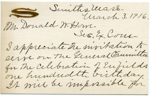 Notecard from Marion A. Smith to Donald W. Howe