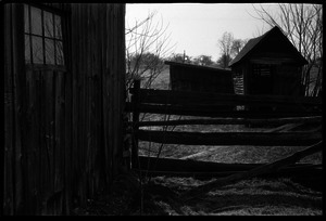 Barns, fence, and outbuildings