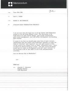 Memorandum from Mark H. McCormack to Ian T. Todd
